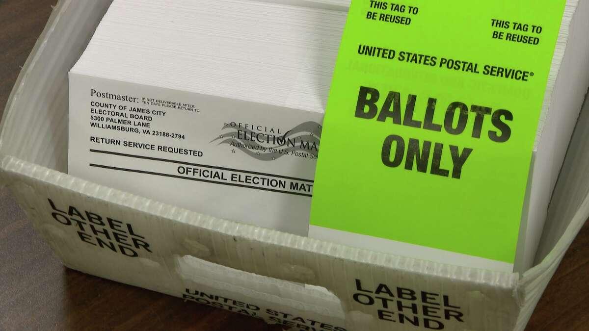 An example of an Intelligent Mail Bar (IMB) code on a ballot envelope.