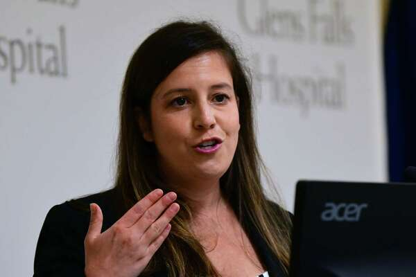 U.S Representative Elise Stefanik gives a presentation at Glens Falls Hospital commending the good work of the administration and the employees on Monday, Aug. 10, 2020 in Glens Falls, N.Y. (Lori Van Buren/Times Union)
