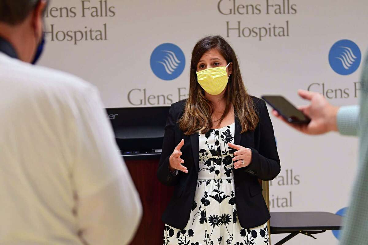 U.S Representative Elise Stefanik talks to members of the press after giving a presentation at Glens Falls Hospital on Monday, Aug. 10, 2020 in Glens Falls, N.Y. (Lori Van Buren/Times Union)