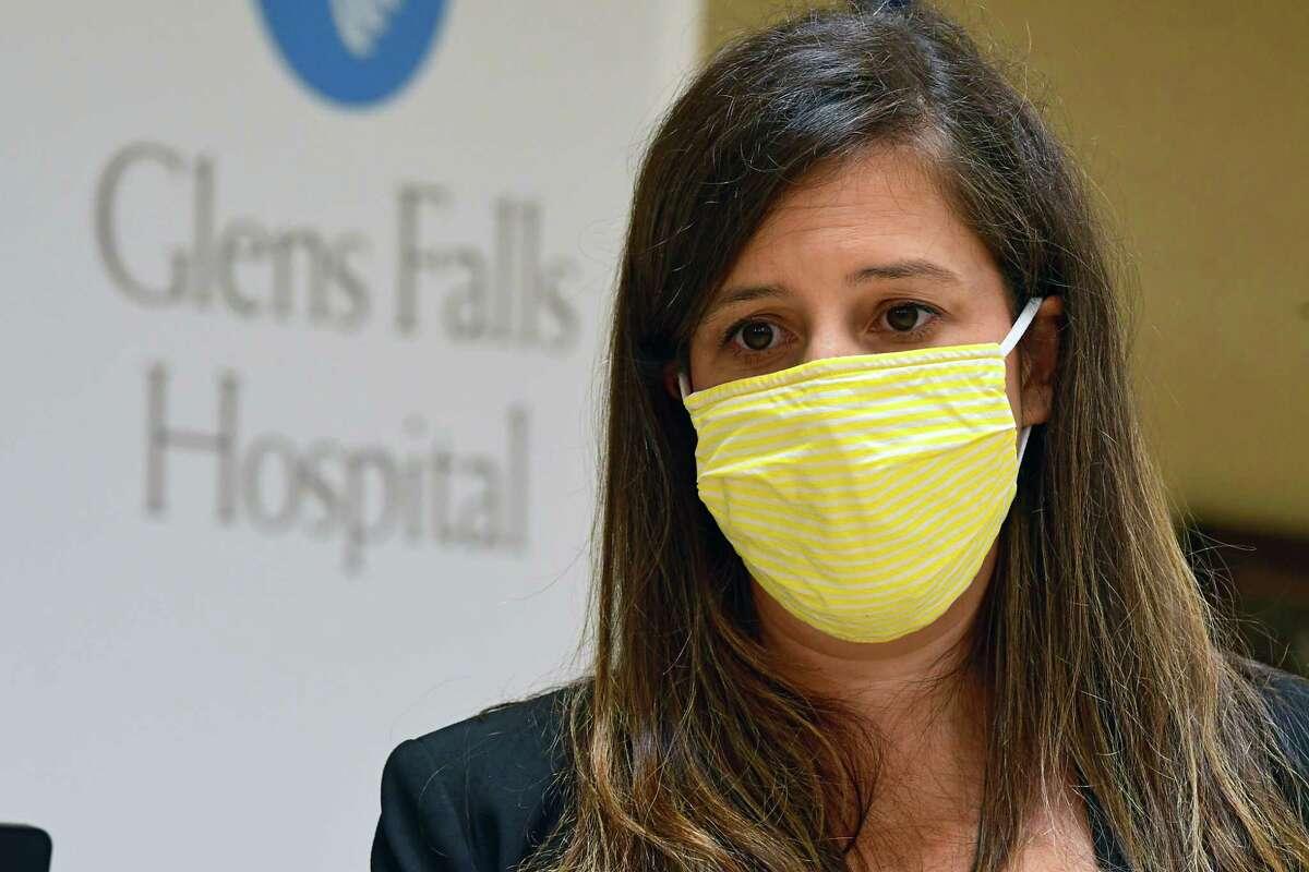 U.S Representative Elise Stefanik talks to members of the press after giving a presentation at Glens Falls Hospital on Monday, Aug. 10, 2020 in Glens Falls, N.Y. (Lori Van Buren/Times Union)