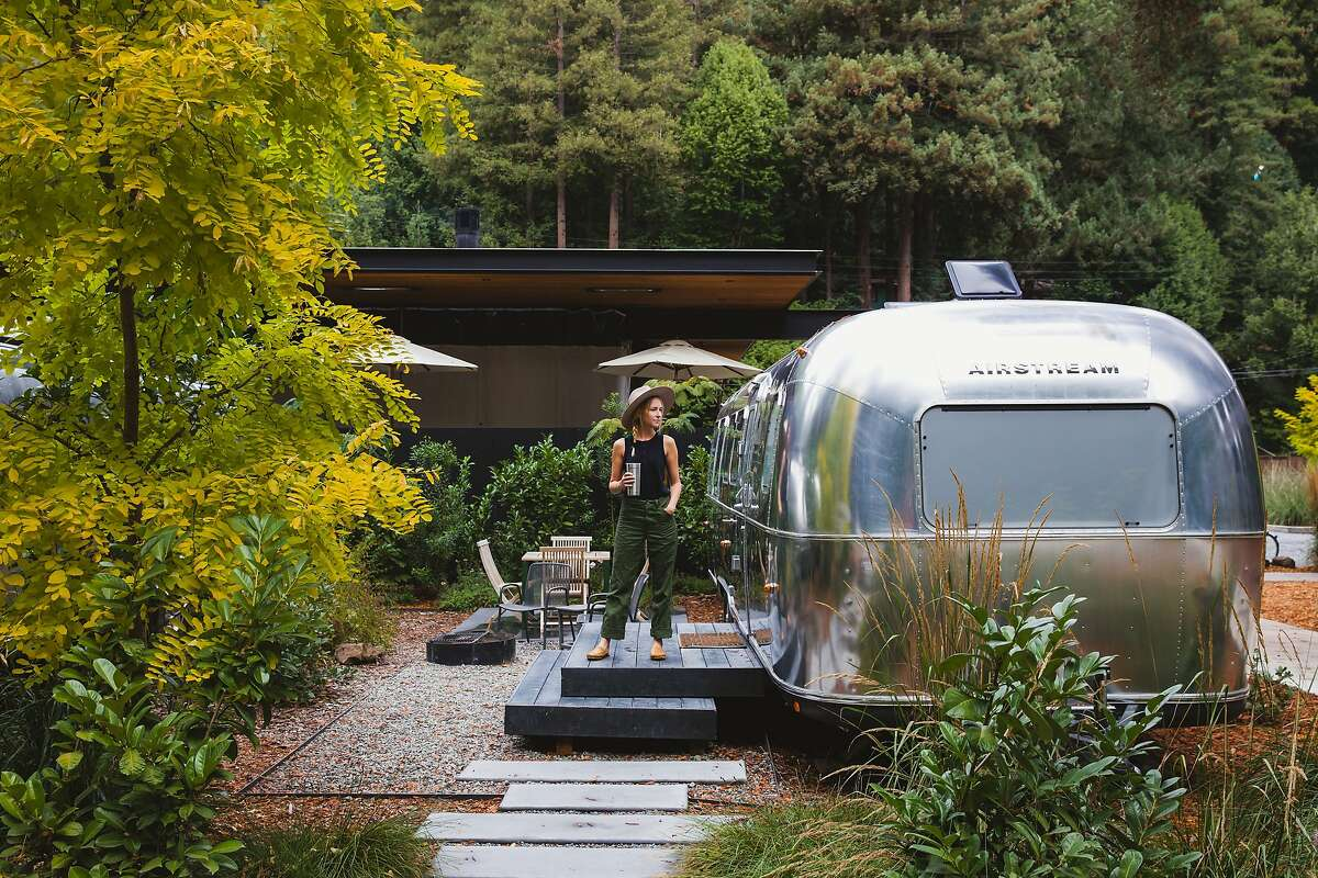 An Airstream trailer at AutoCamp's glamping site near the Russian River