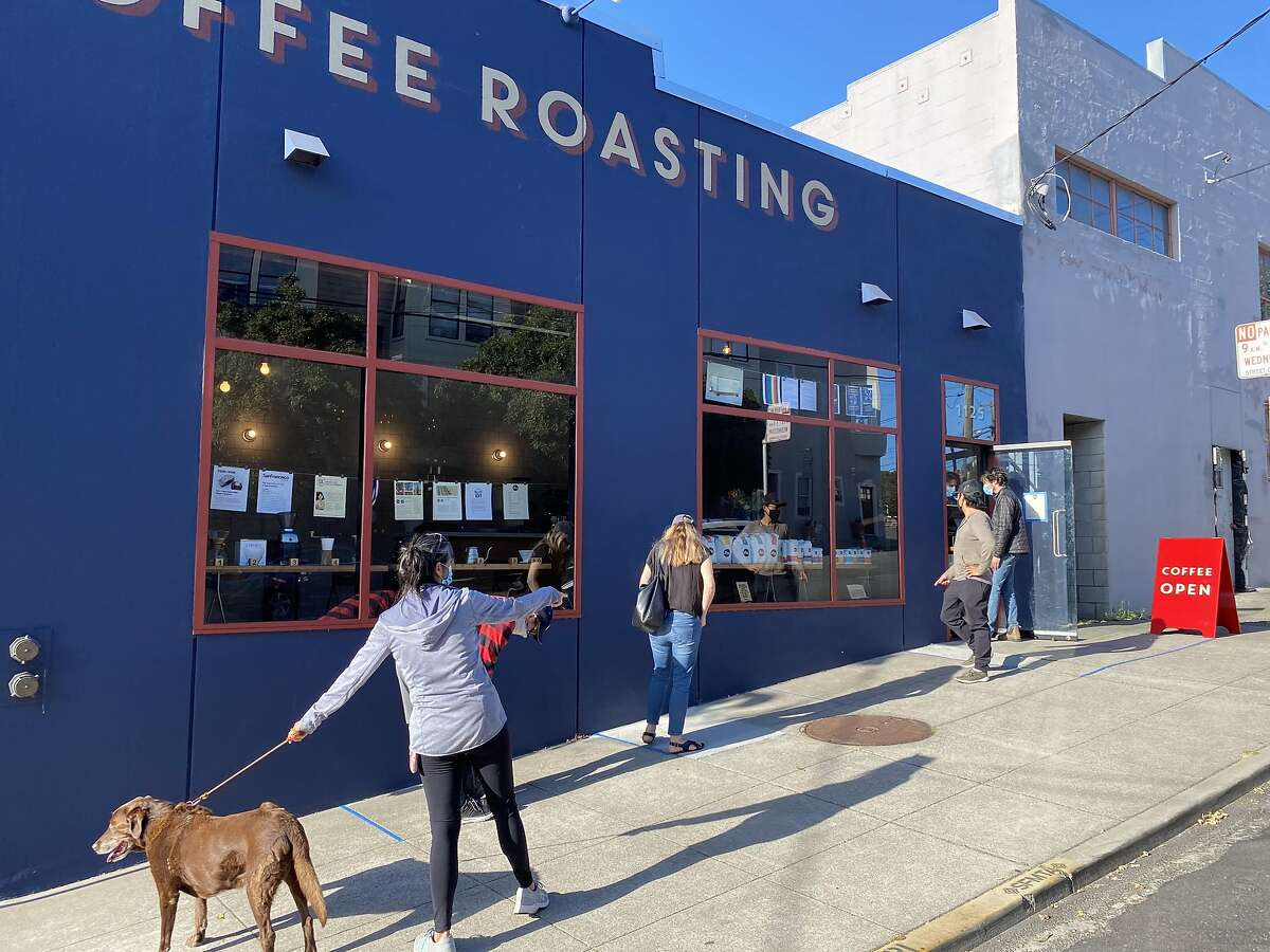 Opening day saw a socially distant line at Linea's new cafe within its Potrero Hill roastery. It's currently open for takeout.