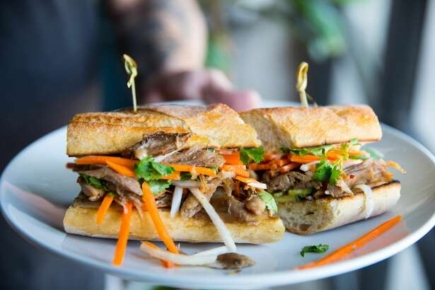 Duck bahn mi at White Elm Cafe Bakery.
