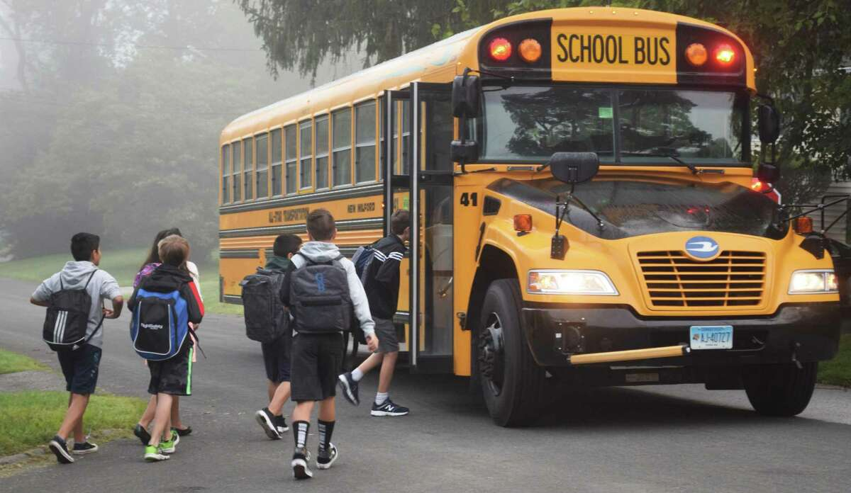 Spectrum/New Milford students headed back to school Tuesday, Aug. 27, 2019. Schaghticoke Middle School students step off to their first day of school.