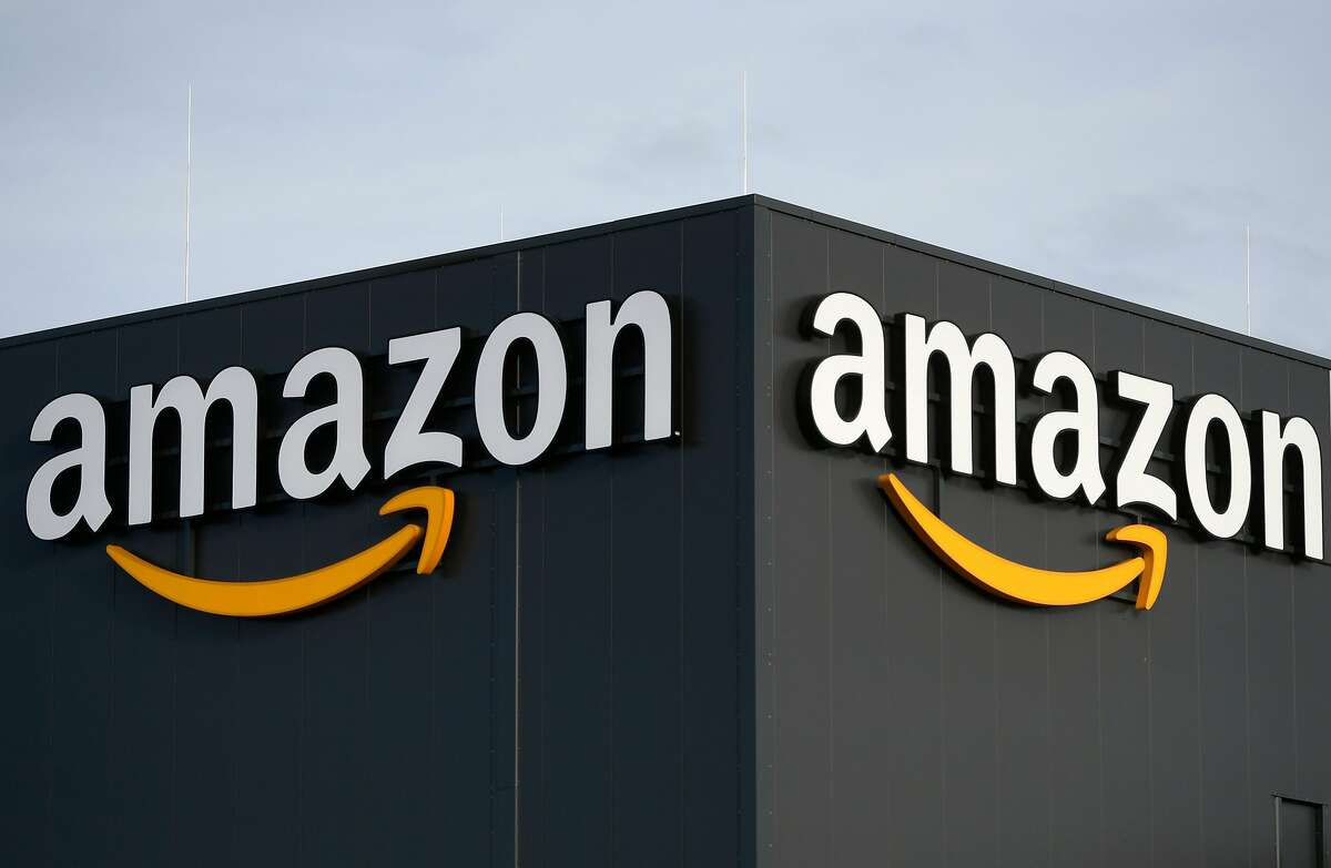The logo of US online retail giant Amazon at the distribution center in Moenchengladbach, western Germany, on Dec. 17, 2019.