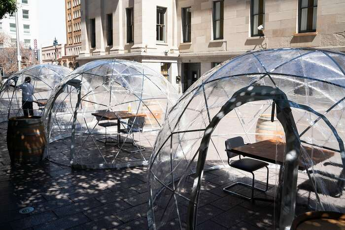 Three domes are set up outside of Hashiri, a fine dining restaurant, in San Francisco, Calif., on Thursday, August 6, 2020.