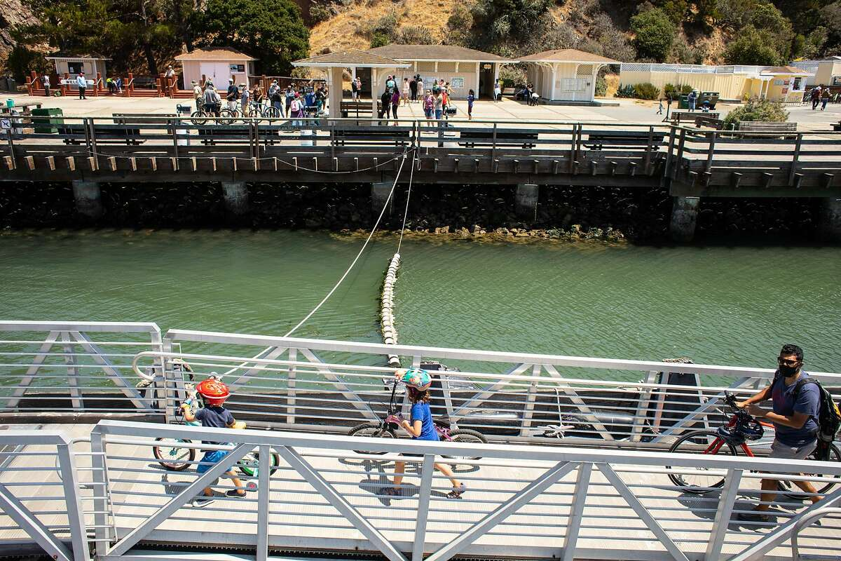 Visitors explore Angel Island, a state park in the San Francisco Bay near San Francisco in California.