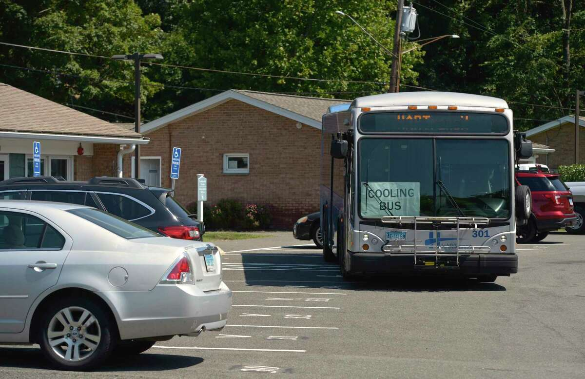 A Hart Transit Cooling Bus at the Housing Authority of Danbury Glen Apartments on Monday, August 10, 2020.