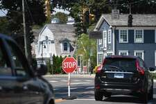 Traffic lights are still without power in the aftermath of a Tropical Storm Isaias in the Saugatuck section of Westport, Conn. on Monday, August 10, 2020.