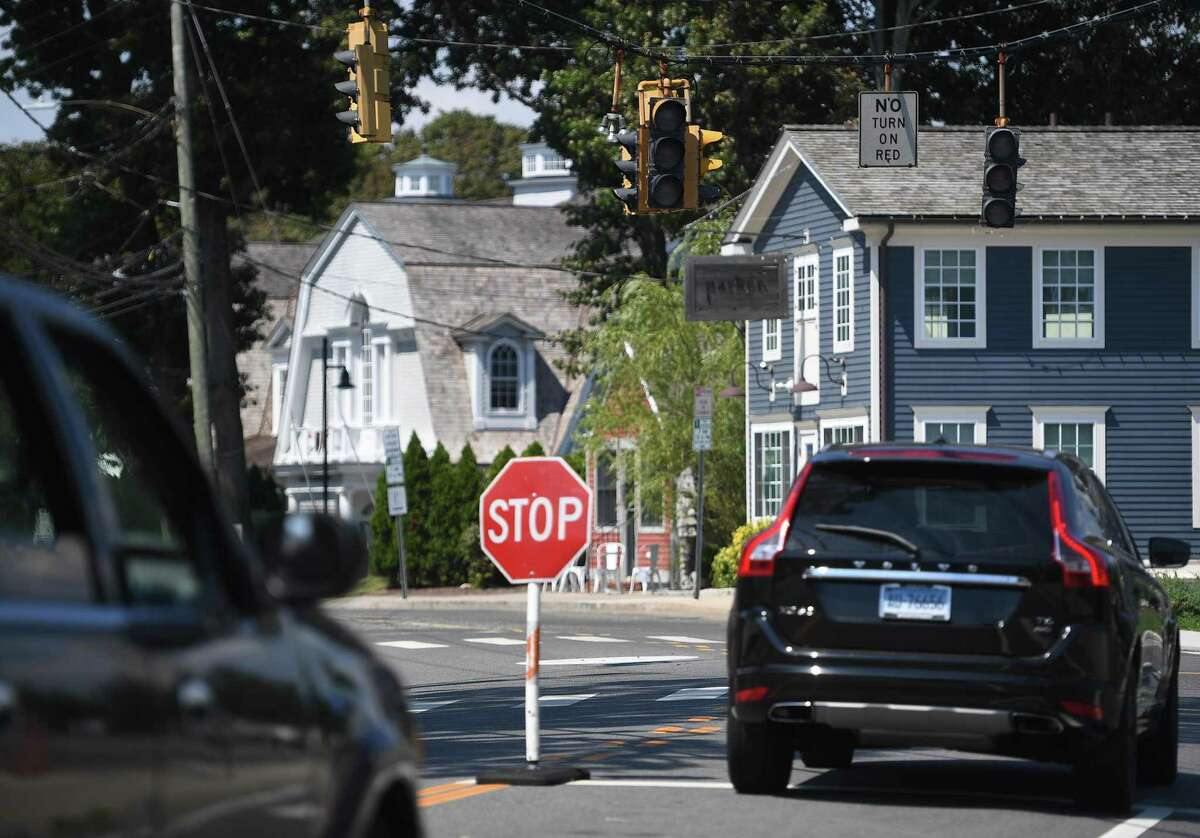 Traffic lights were left without power in the aftermath of Tropical Storm Isaias in the Saugatuck section of Westport, Conn. on Monday, August 10, 2020.