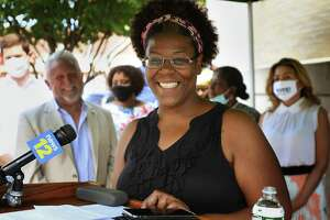 Norwalk student mom Angel Dorleans addresses a press conference announcing a partnership betweem the City of Norwalk, various foundations, and Altice to provide high speed internet access to families of school children for the upcoming academic year in Norwalk, Conn. on Monday, August 10, 2020.