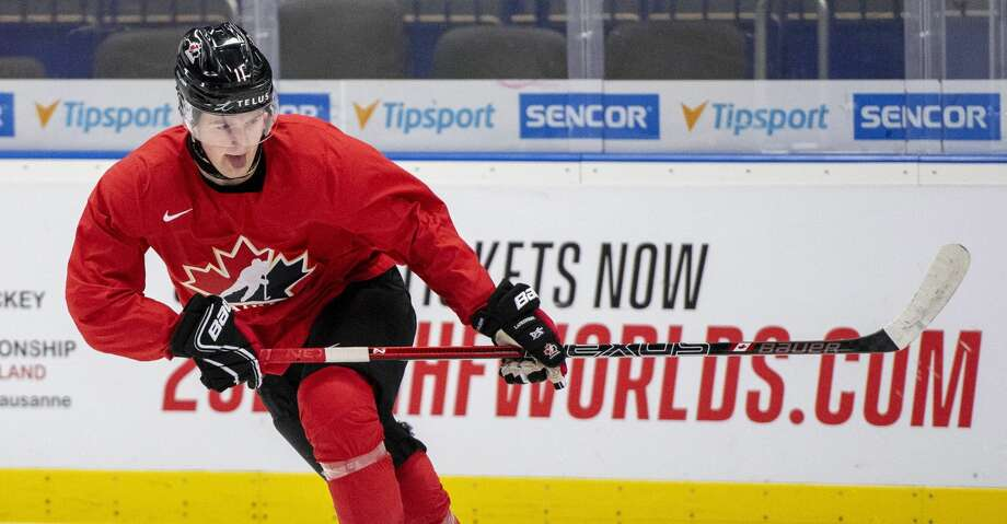 FILE - In this Jan. 1, 2020, file photo, Canada's Alexis Lafreniere during during practice at the World Junior Hockey Championships in Ostrava, Czech Republic. The Detroit Red Wings could actually benefit from an adjusted draft lottery that gives him better odds at the top pick, likely Alexis Lafreniere. (Ryan Remiorz/The Canadian Press via AP, FIle) Photo: Ryan Remiorz/Associated Press
