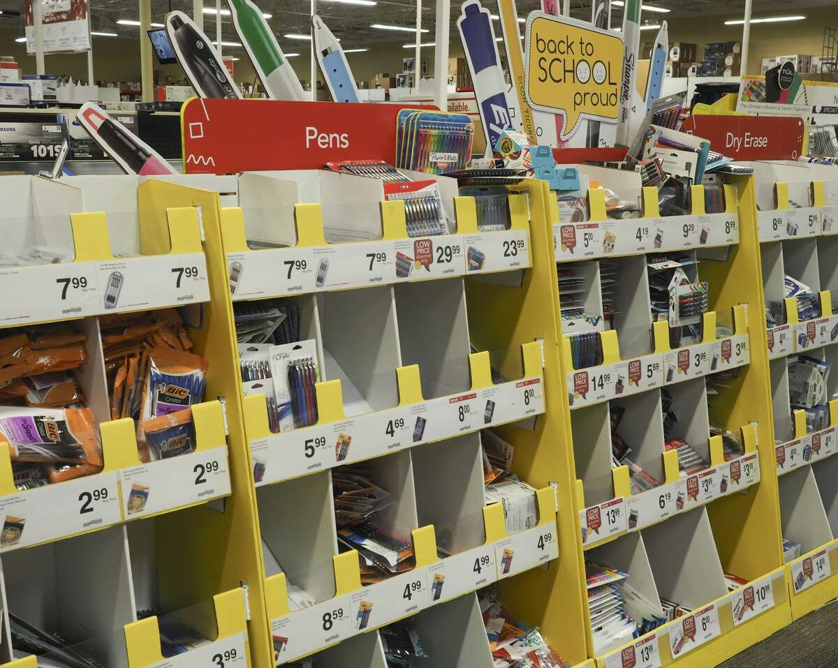 School supplies are in stock at Depot in this Aug. 2, 2018, file photo.