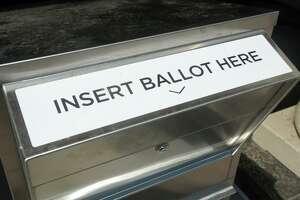 A state ballot drop box outside the Morton Government Center, in Bridgeport, Conn. Aug. 10. 2020.