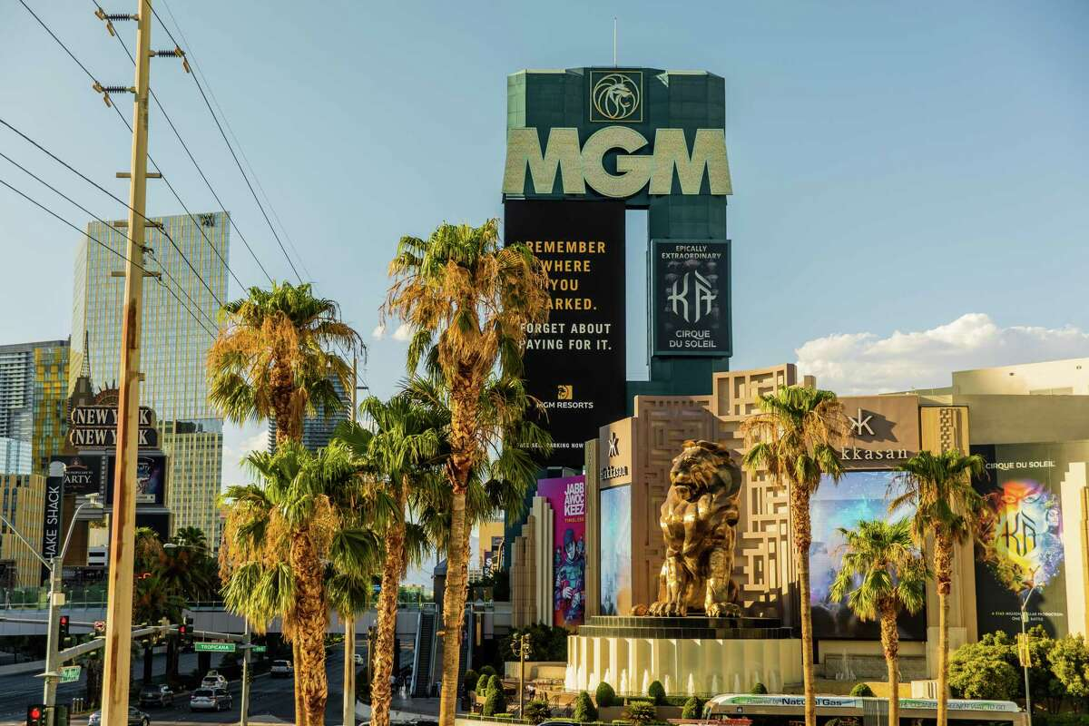Signage is displayed in front of the MGM Grand Hotel and Casino in Las Vegas, Nevada, U.S., on Sunday, July 26, 2020. MGM Resorts International is scheduled to releasing earnings figures on July 30. Photographer: Roger Kisby/Bloomberg