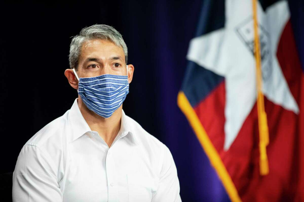 Mayor Ron Nirenberg speaks to the media during a press briefing on the Coronavirus in San Antonio, Texas, U.S., on Monday, August, 10, 2020.
