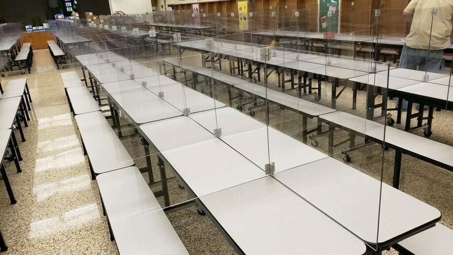 Plexiglass booths will be set up in every Plainview ISD cafeteria to isolate students as an added precaution against spreading germs during lunch time. Photo: Plainview ISD