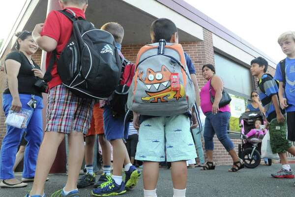 Scenes from New Lebanon School on the first day of school in the Byram section of Greenwich, Conn., Tuesday morning, Aug. 26, 2014.