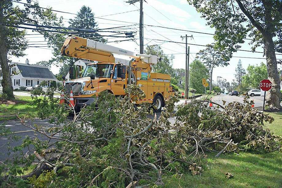 "One week after Tropical Storm Isaias tore through Connecticut, more than 38,000 customers remain without power on Tuesday, Aug. 11, 2020. Eversource said it would ""substantially restore"" power in the state by 11:59 p.m. Tuesday. Photo: Eversource Photo"
