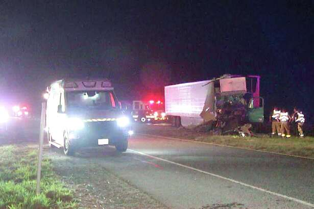 A San Antonio highway turned a little green Tuesday morning after an 18-wheeler carrying cabbage crashed on the far South Side.