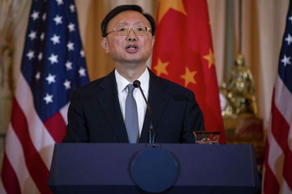 "Yang Jiechi, China's top diplomat, says the door for talks with the U.S. remained open, appealing to a broader spectrum of American policymakers and blaming current tensions on a ""small group"" of U.S. politicians. He is shown in 2018."