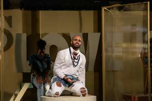 """Nicholas Edwards plays Jesus in Berkshire Theatre Group's production of """"Godspell."""" (BTG publicity photo by Emma K. Rothenberg-Ware.)"""