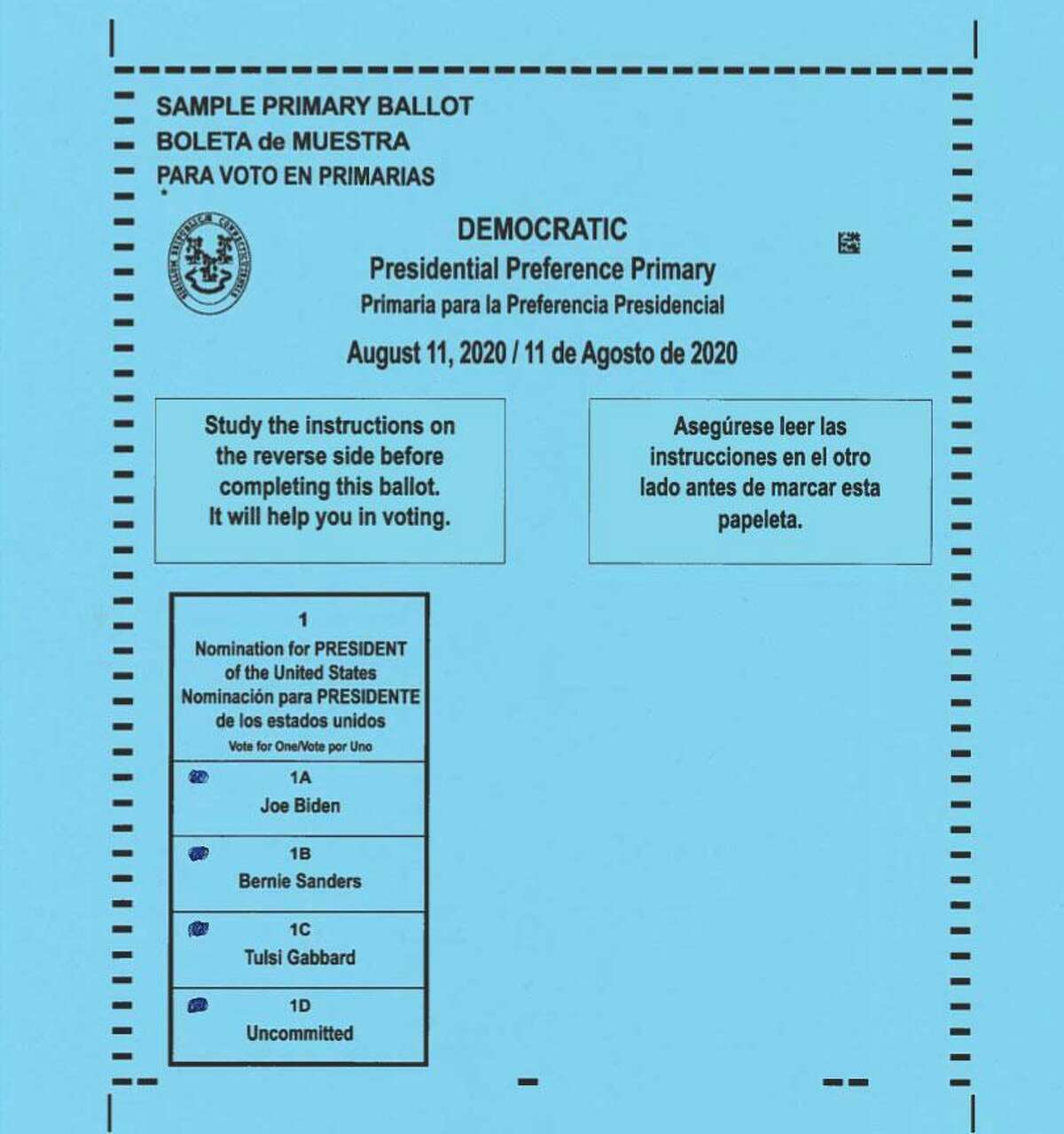Sample Democratic Ballot for the Presidential Primary in Wilton to beld on Tuesday, Aug. 11.