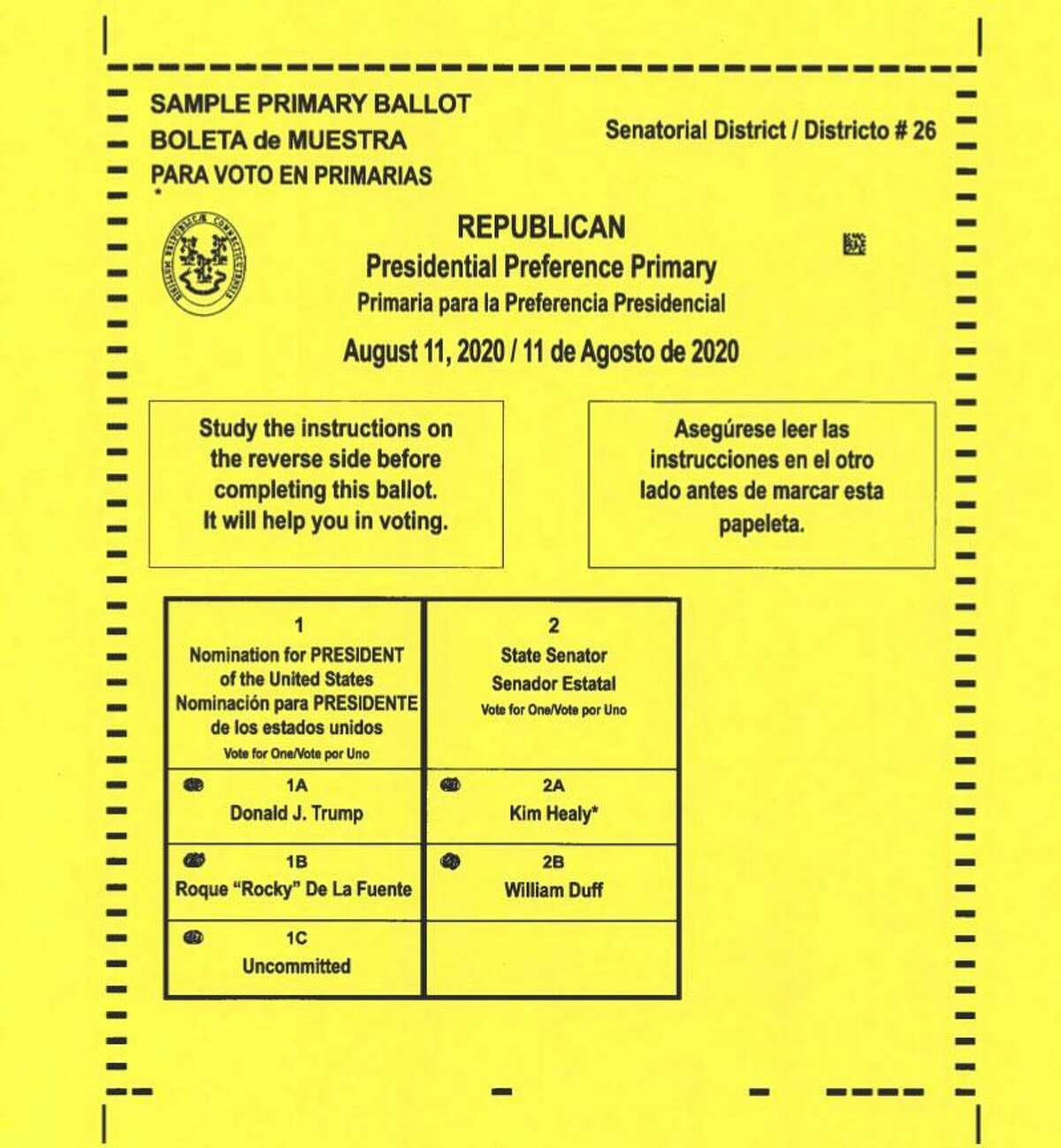 Sample Wilton Republican ballot for the Presidential PReference PRiamry to be held Tuesday, Aug. 11.
