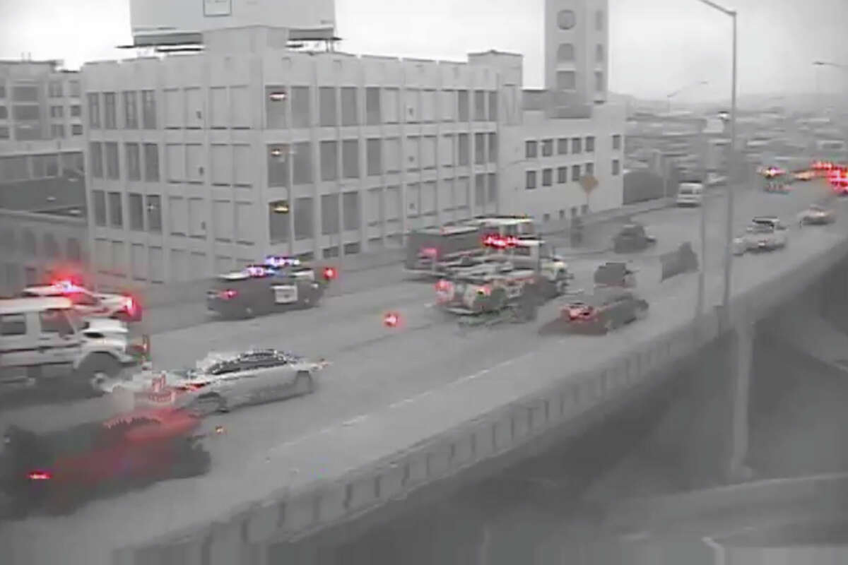 A vehicle fire near the Harrison Street exit on the Bay Bridge backed up traffic across the span Tuesday morning, Aug. 11, 2020.