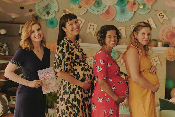 """In """"I Used to Go Here,"""" Gillian Jacobs, left, plays a 35-year-old whose first novel has just been published. But her travels to her old stomping grounds come amid a canceled book tour, a gaggle of pregnant friends and she can't stop checking her ex's Instagram."""