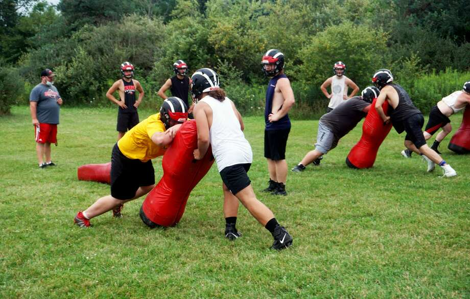 Reed City's football team held its first true practice of the preseason Aug. 10. Photo: Pioneer Photos/Joe Judd