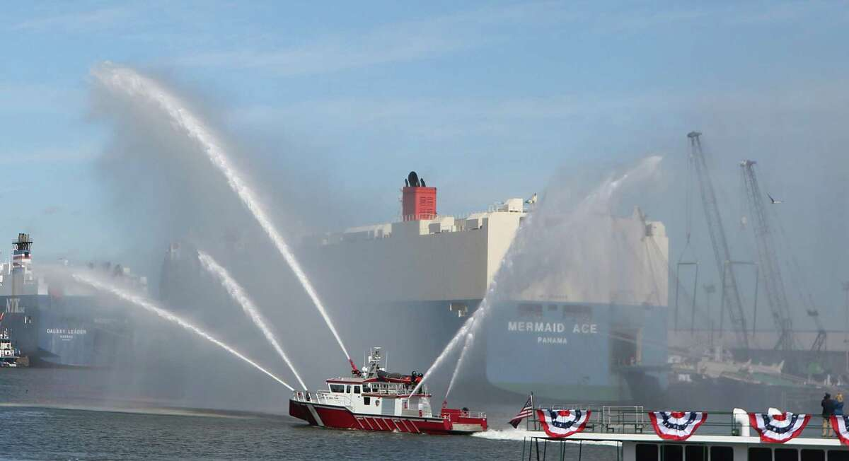 A fireboat provides a water display in 2014 as part of a celebration in the Houston Ship Channel. The city of League City has commissioned the building of a $436,790 fireboat that will serve as an