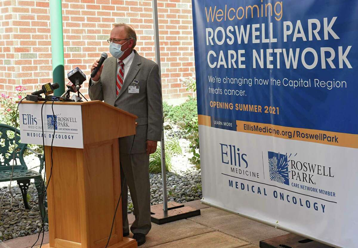 Paul Milton, president and CEO at Ellis Medicine, speaks as representatives from Ellis Medicine and Roswell Park Comprehensive Cancer Center announce their new partnership to expand access to cancer care in the Capital Region at Ellis Hospital on Tuesday, Aug. 11, 2020 in Schenectady, N.Y. (Lori Van Buren/Times Union)