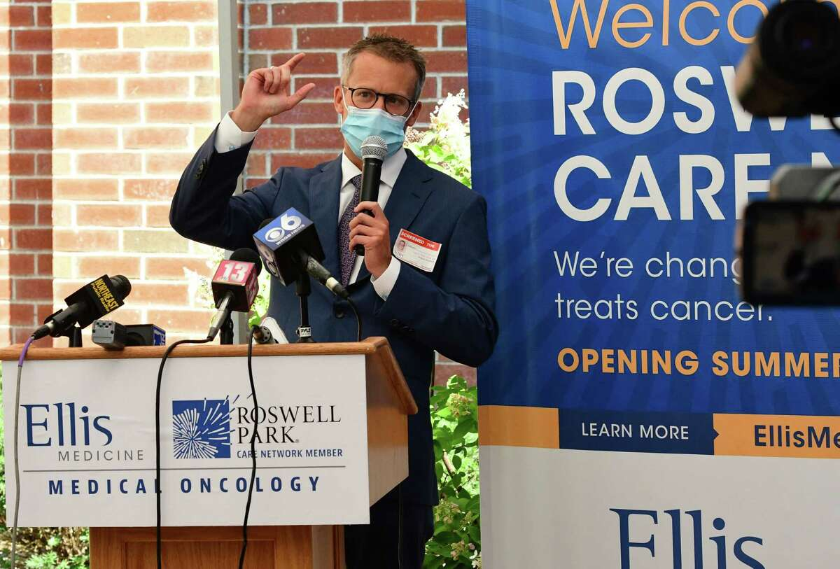 Thomas Schwaab, MD, chief of strategy, business development and outreach, Roswell Park Comprehensive Cancer Center, speaks as representatives from Ellis Medicine and Roswell Park Comprehensive Cancer Center announce their new partnership to expand access to cancer care in the Capital Region at Ellis Hospital on Tuesday, Aug. 11, 2020 in Schenectady, N.Y. (Lori Van Buren/Times Union)