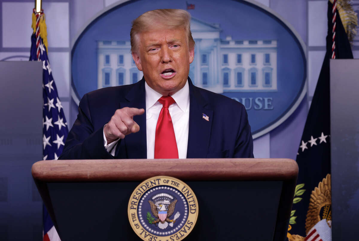 WASHINGTON, DC - JULY 28: U.S. President Donald Trump speaks during a news briefing at the James Brady Press Briefing Room of the White House July 28, 2020 in Washington, DC. The president announced that Eastman Kodak will receive a loan to manufacture ingredients used in pharmaceuticals.