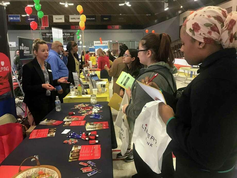 File photo of a career fair. Photo: Cassandra Day / Hearst Connecticut Media /