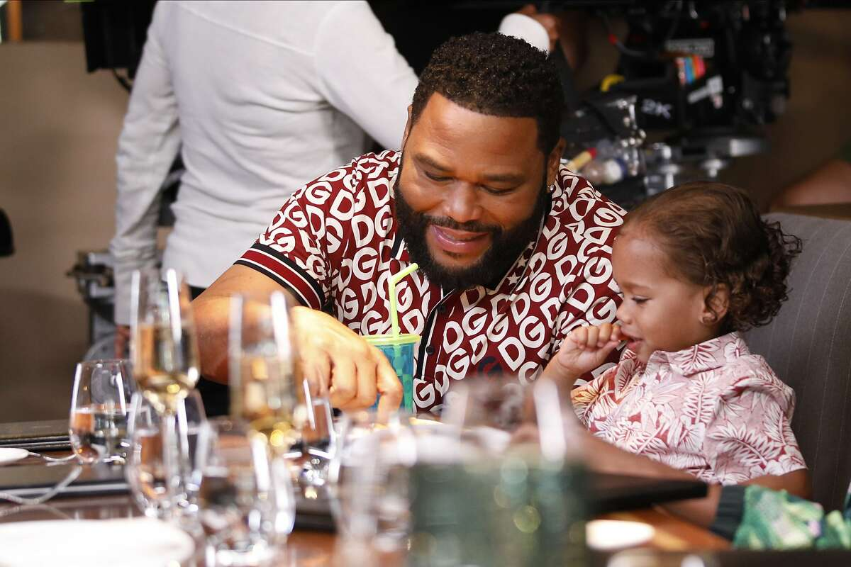 Anthony Anderson and August and Berlin Gross on the set of 'black-ish.' In season seven, episode eight of the popular show, Dre (played by Anderson) is upset when his children call him a