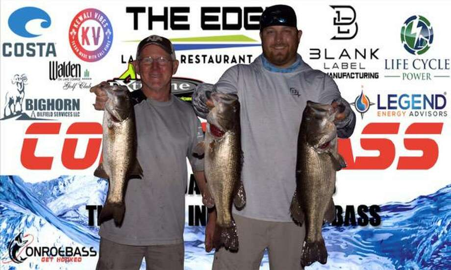David Perciful and Bo Brown won the CONROEBASS Tuesday Night tournament with a stringer weight of 15.37 pounds. Photo: CONROEBASS