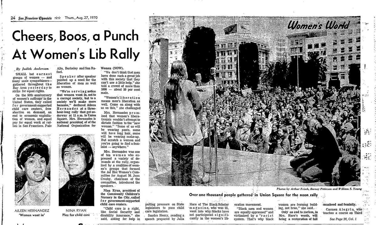 August 27, 1970 Chronicle coverage of rally for women's equal rights on the 50th anniversary of suffrage