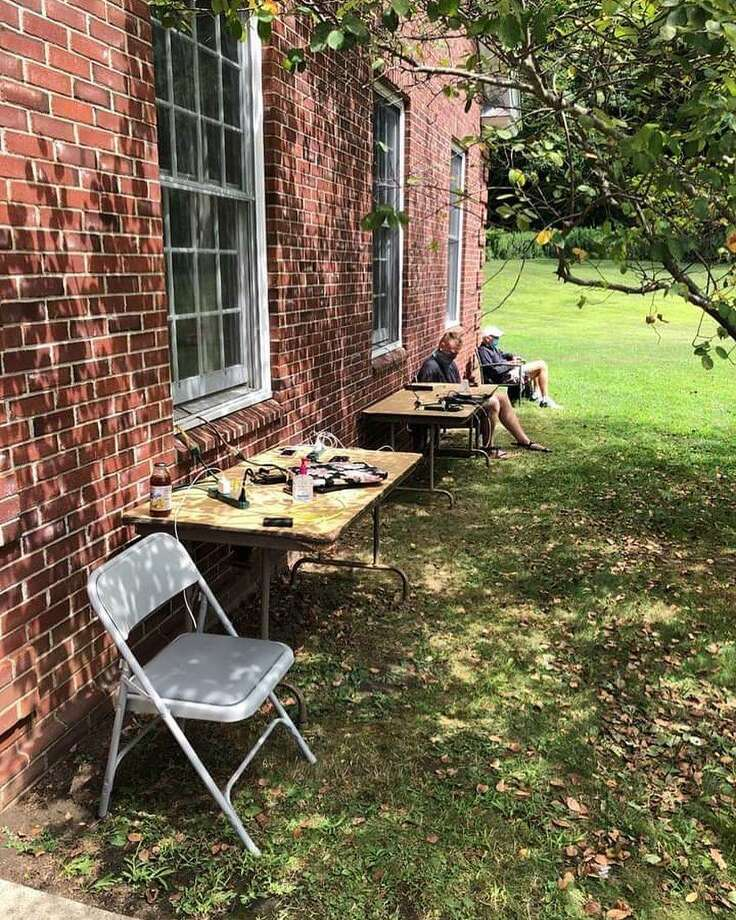 Charging stations were set up outside Kent Town Hall following last week's storm. Photo: Facebook / Kent Chamber Of Commerce