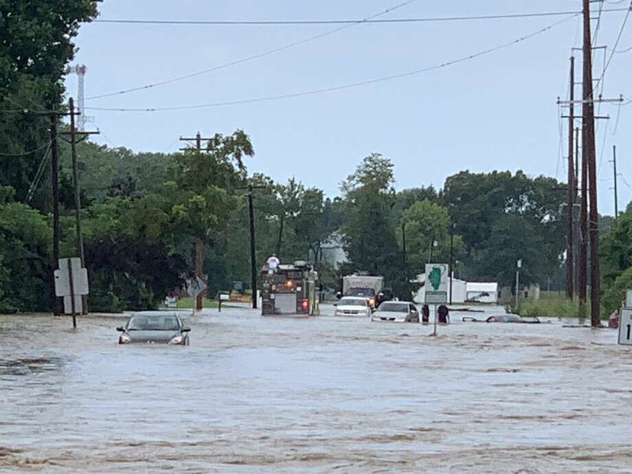 Floodwaters from Judy Creek reek havoc near the intersection of State Route 162 and 157 in Glen Carbon on Sunday. The waterline caused multiple rescues to take place on 162. Photo: Submitted Photo