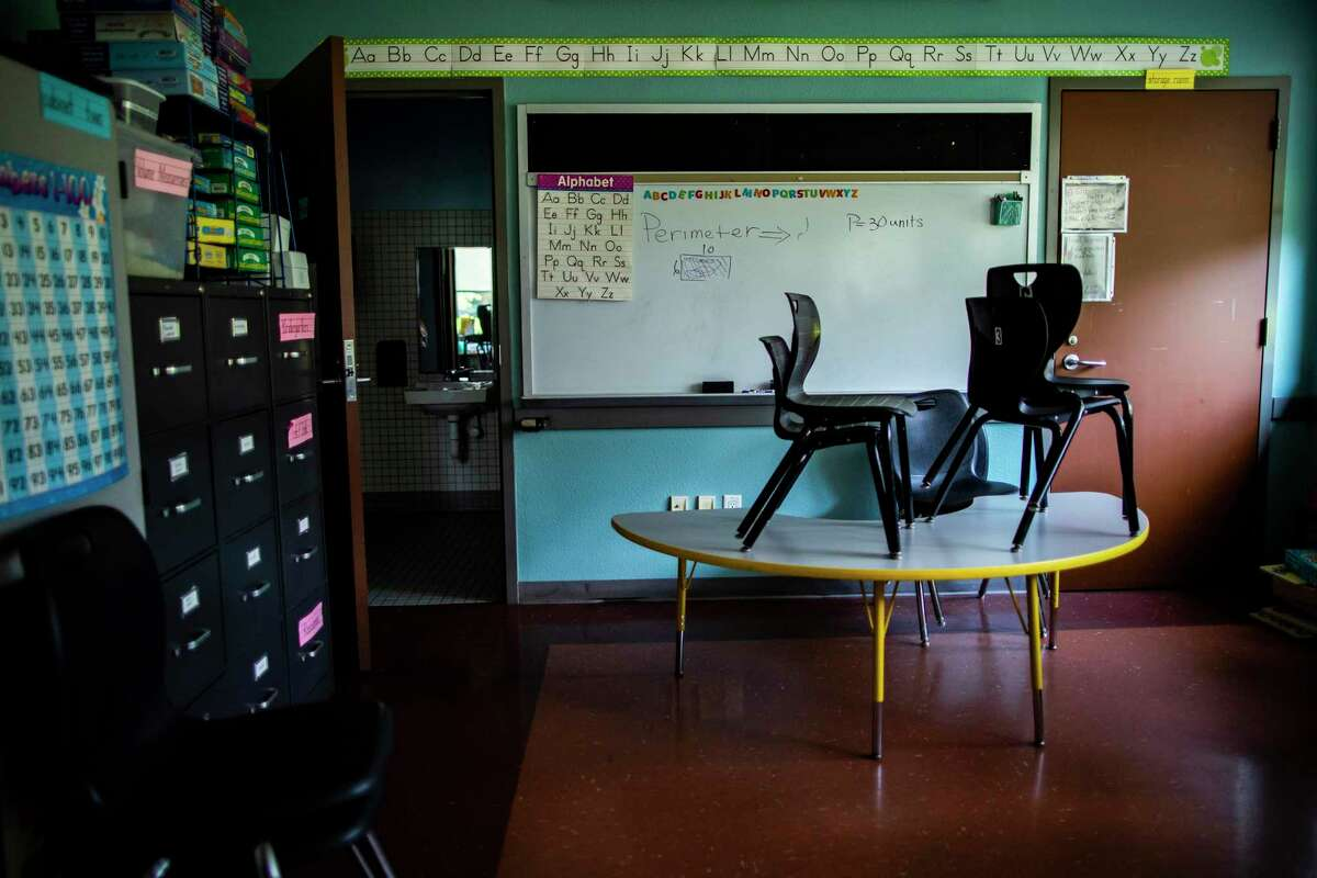 Houston Area Women's Center's Sunshine Learning Center K-5th grade classroom on Thursday, Aug. 6, 2020, in Houston. The classroom and sport facilities at the shelter are not in used because of the COVID-19 pandemic.