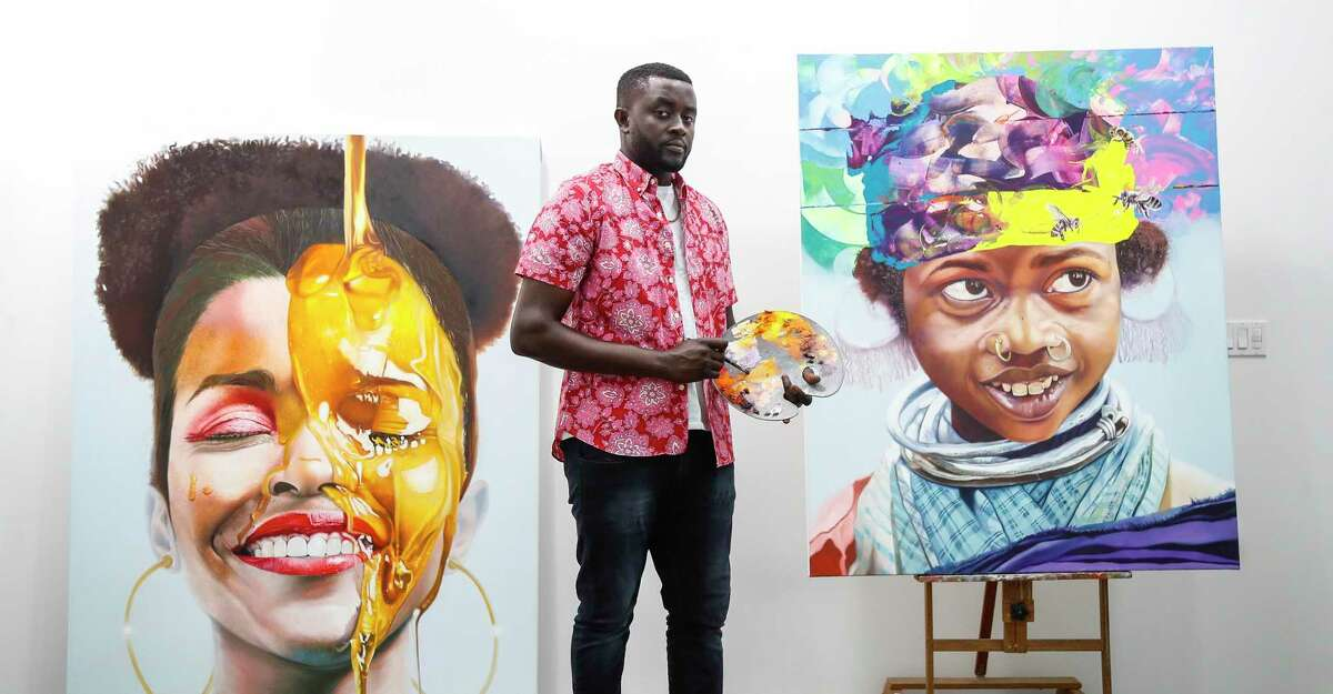 Mathieu Jean Baptiste, shown in his studio, created a mural for Woman's Hospital of Texas.