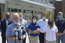Mayor Mark Boughton speaks during a press conference on Friday Aug. 7, 2020, in front of Danbury High School.