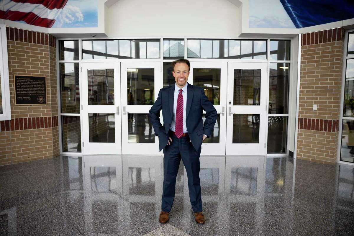 Dr. Heath Morrison, the new superintendent of Montgomery ISD, poses for a portrait inside Montgomery Junior High School in Montgomery, August 6, 2020. Before Dr. Morrison accepted the position to become superintendent of Montgomery ISD he was the former Charlotte-Mecklenburg School superintendent before going into the private sector.