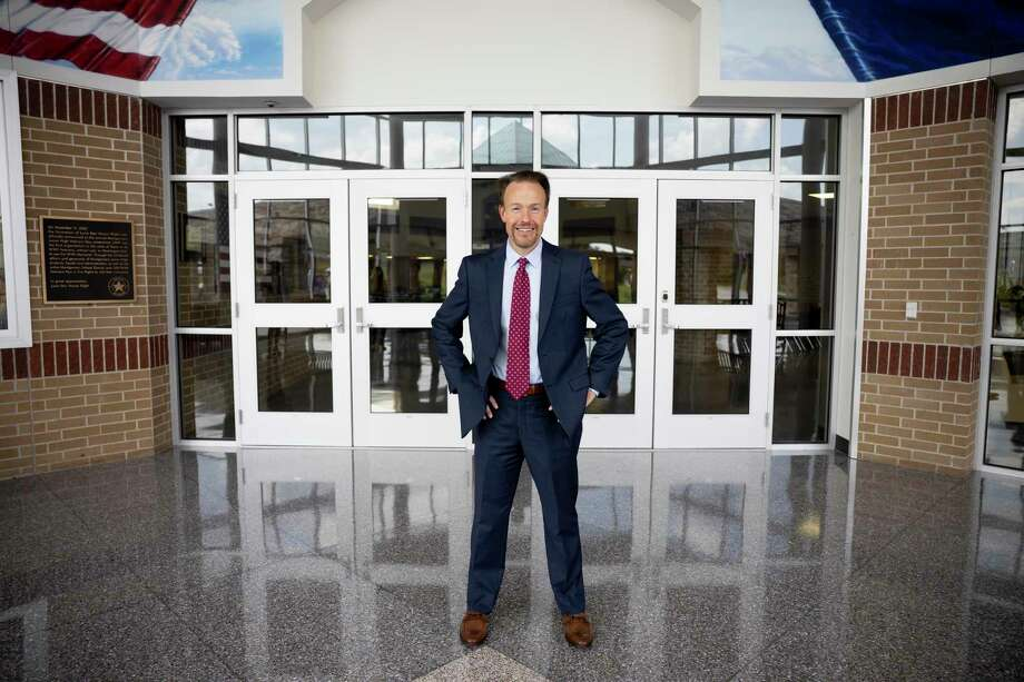 Dr. Heath Morrison, the new superintendent of Montgomery ISD, poses for a portrait inside Montgomery Junior High School in Montgomery, August 6, 2020. Before Dr. Morrison accepted the position to become superintendent of Montgomery ISD he was the former Charlotte-Mecklenburg School superintendent before going into the private sector. Photo: Gustavo Huerta, Houston Chronicle / Staff Photographer / Houston Chronicle © 2020
