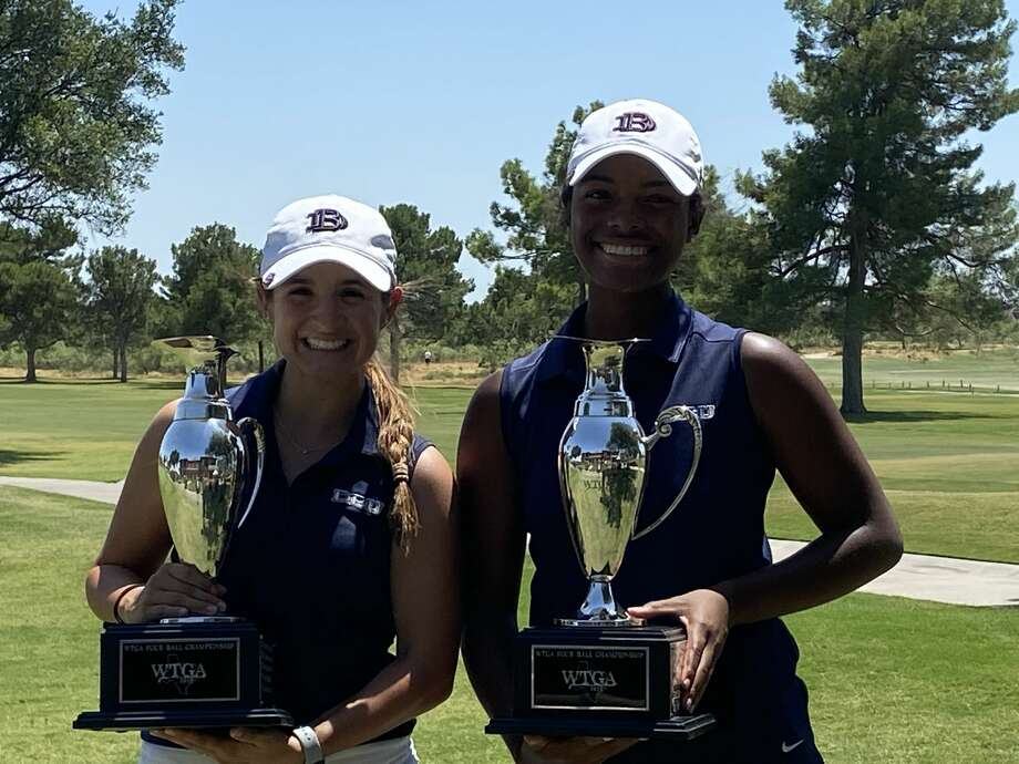 Midland High grad Faith DeLaGarza, left, and her Dallas Baptist teammate Amari Smith hold the championship trophies after winning their second consecutive Texas Golf Association Women's Four-Ball tournament title on Aug. 11 at Midland Country Club.