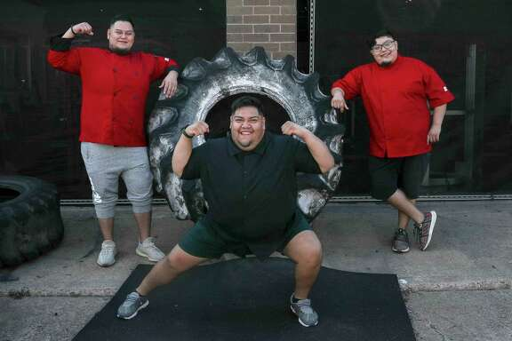 """Abe Peña, from left, and brothers Gustavo and Rudy Peña have each lost 100 pounds, working out at Texas Elite Fitness and eating better. """"Fitness is a journey,"""" Abe Peña said. """"The scale doesn't define who you are."""" Abe has launched a meal preparation service, Abe's Fitty Foods."""