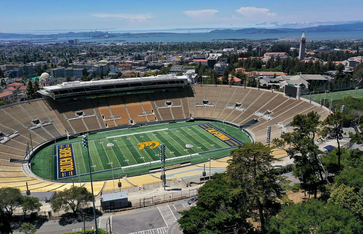 An aerial drone view of California Memorial Stadium at U.C. Berkeley on July 22, 2020 in Berkeley, California. U.C. Berkeley announced plans on Tuesday to move to online education for the start of the school's fall semester due to the coronavirus COVID-19 pandemic.
