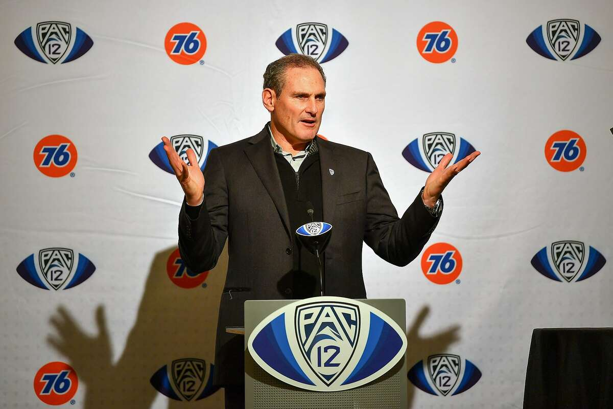 FILE PHOTO: Pac-12 Commissioner Larry Scott attends the pre-game press conference before the Pac-12 Championship football game between the Oregon Ducks and the Utah Utes at Levi's Stadium on Dec. 6, 2019 in Santa Clara, Calif. The Pac-12 Conference announced Tuesday, Aug. 11, 2020, that it has postponed the 2020 football season because of safety concerns stemming from the novel coronavirus pandemic.